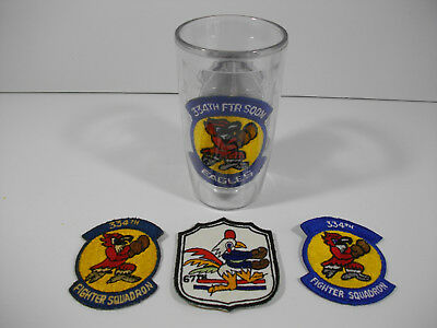 c45/ Vintage WW2 / Korea/ Vietnam/ USAF/ Army/ Patches/ Lot of 3pcs & 1 Cup