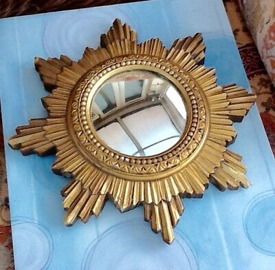 Vintage French Plaster Sunburst Mirror