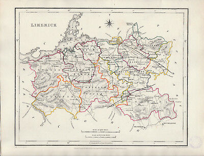 An attractive Irish county map of Limerick by Richard Creighton c1845