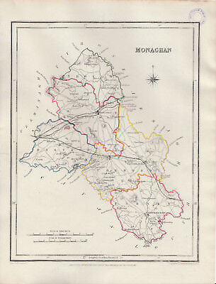An attractive Irish county map of Monaghan by Richard Creighton c1845