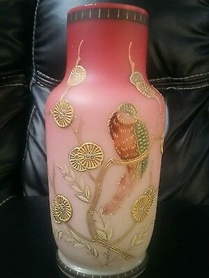 Cranberry Frosted Base Bird  Raised Gold Accents 7.5""