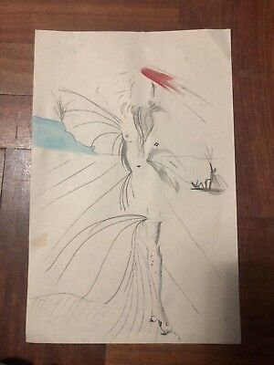 Vintage Salvador Dali Charcoal Ink  Drawing On Paper Year 1900's Signed # 20