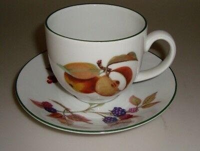 """Royal Worcester  EVESHAM VALE 3-1/4"""" CUP AND SAUCER with Green Trim"""