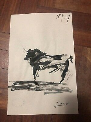 Vintage Pablo Picasso  Bull Charcoal Ink  Drawing On Paper Year 1900's Signed