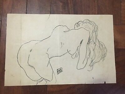Egon Schiele  Charcoal Drawing On Old Paper Signed # 2