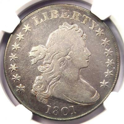 1801 Draped Bust Silver Dollar $1 - Certified NGC Fine Details - Rare Coin!