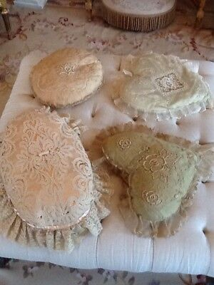 SHABBY VICTORIAN LOT OF 4 Vtg Net Lace PillowS Heart Shapes AS IS