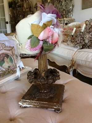 SHABBY CHIPPY VTG Antique Barbola Basket Roses Candle or Hat Stand DISPLAY