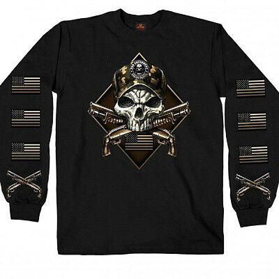 2nd Amendment CAMO SKULL Long Sleeve T-Shirt Gun NRA Flag Biker USMC Army Navy