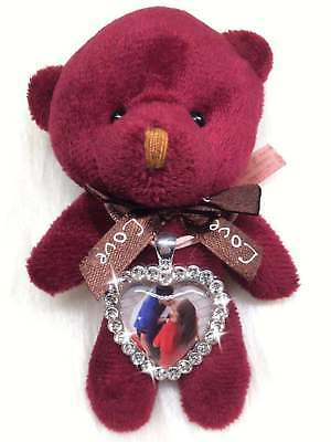 Teddy Bear+ Custom Photo Personalised Diamante Heart Charm Valentines Day Gifts