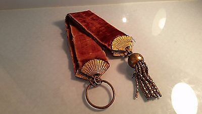 RE Victorian velvet & brass light pull with chinoisere gilded fan decoration