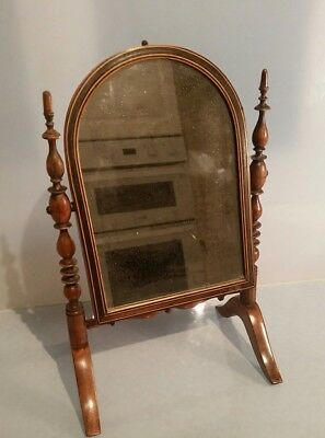 Re Small miniature Georgian mirror stand arched mirror on turned wood poles