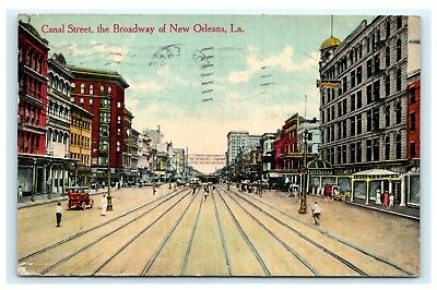 Canal Street the Broadway of New Orleans Louisiana LA Postcard 1912 C15