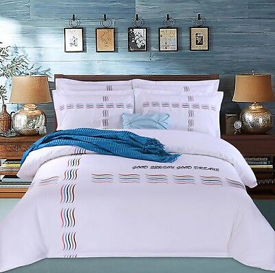 White 100%Egyptian Cotton Embroidery Soft Luxury Elegant Duvet Cover Bedding Set