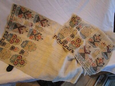 Wonderful 19th C Antique Show Towel with Beautiful Embroidery & Metal Adornments