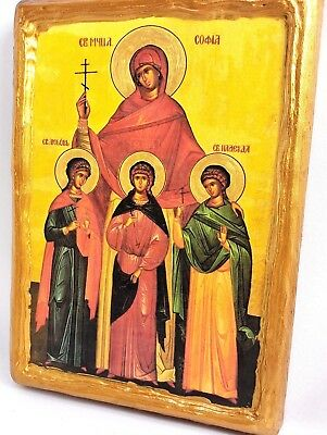 Saint Sophia Saint Daughters Mount Athos Eastern Orthodox Byzantine Icon on Wood