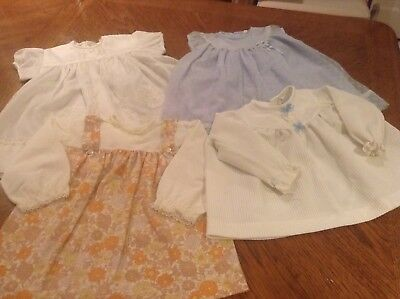 4 X Vintage Baby Girl Dresses - Approx Age 1 Year