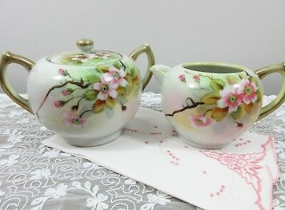 Hand Painted Creamer & Lidded Sugar - Cherry Blossoms - 1920 to 1940 - Japan