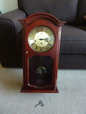 Vintage German 'AMS' 8-Day Mahogany Case Wall Clock with Westminster Chimes