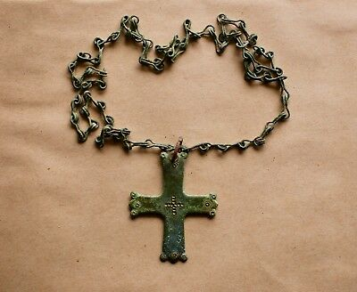 Late Byzantine Pectoral Bronze Cross With Chain. An Excellent Collectible Item!