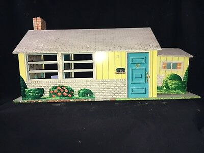 Vintage 1940's-50's T. Cohn Inc.Tin Litho Metal Doll House w/Furniture Nice!