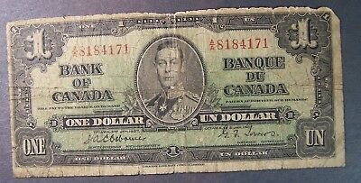1937 Bank of Canada Ottawa One Dollar $1 Combined Shipping Available