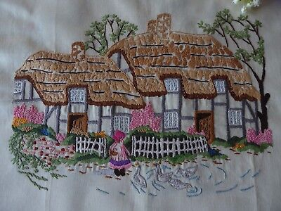 Vintage Hand Embroidered Picture Panel Of Lovely Country Cottages & Little Girl