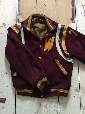 Chainstitched Vintage Letterman Varsity Jacket 40/42 Wool and Leather Bomber