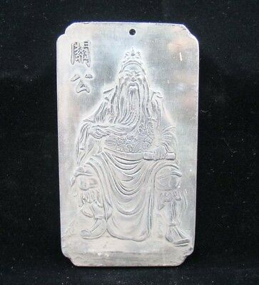 Collectable Handmade Carved Statue Tibet Silver Amulet Pendant Guan Yu