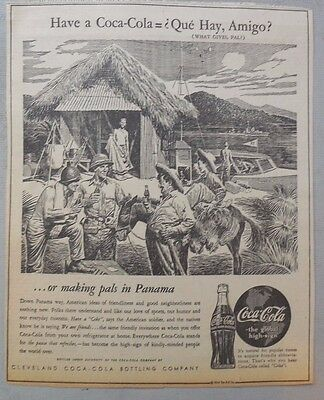 Coca-Cola ad: Fantastic Frank Godwin Artwork! 1940's 9 x 12 inches Panama