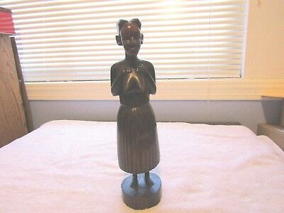 """HANDCARVED WOOD SCULPTURE FIGURE OF AFRICAN WOMAN, 13"""" tall"""