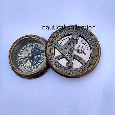 Antique Finish Brass Sundial Compass -Paper weight -Old Vintage Pocket Style