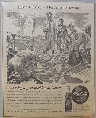 "Coca-Cola ad: Fantastic Frank Godwin Artwork! 1940's 9 x 12 inches ""Nassua"""