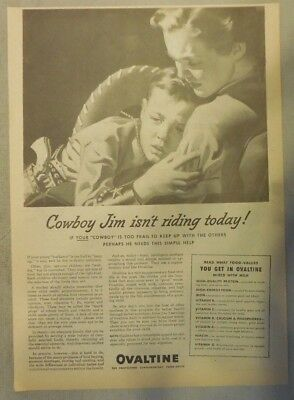 """Ovaltine Drink Ad: """"Is Your Cowboy Frail? !"""" from 1930's-1940's 11 x 15 inches"""