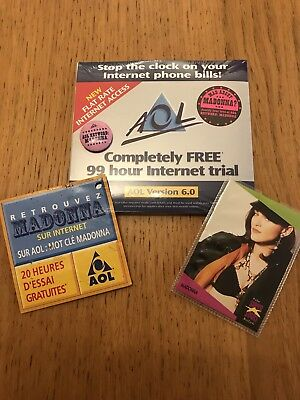 Madonna Aol Uk Sponsored Internet Cd And Promo Badge And French Advert Card Rare
