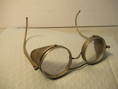 Vintage Wire Rim Pioneer Safety Glasses Cesco Lens Side Shields Old Steampunk
