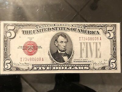 Series of 1928 Five Dollar Bill $5 *Red Seal* United States Currency