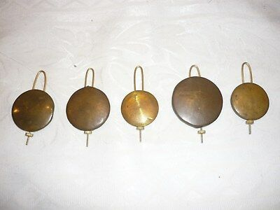 5 antique American clock pendulum bobs