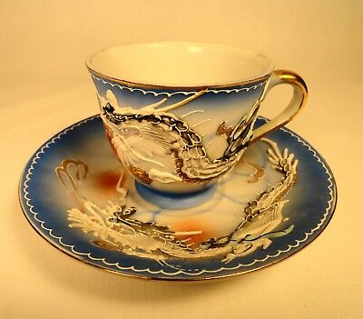 Vintage hand painted porcelain Tea Cup with Saucer 3D DRAGON Artwork Awesome!