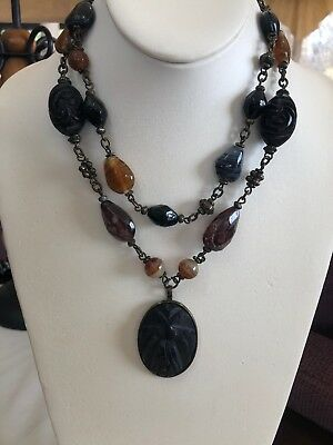 Ventage Egyptian Curved Black Scarab Bohemian Beaded Double Strand Necklace