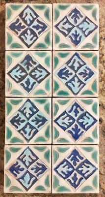 "Beautiful Lot of  Early Eight California Tiles Pottery 3 6/8"" Matching set"