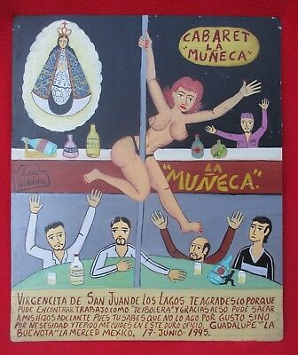 Luis Vilchis Grateful Pole Dancing Mother Supports Children Retablo Ex Voto