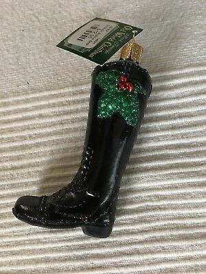 Old World Christmas ENGLISH RIDING BOOT Blown Glass Xmas Ornament