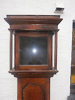 EARLY oak or elm  + MAHOGANY crossbanding  LONGCASE CLOCK  case for a  11x11  in