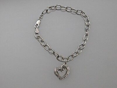 Zales Sterling Silver Charm Bracelet With Diamond Accent Heart
