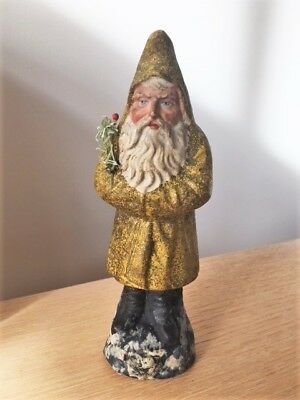 "Antique German Papier Mache BELSNICKLE with Yellow Coat - 8 1/4""h"