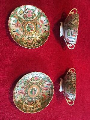 2 Chinese famille rose porcelain tea cups and saucers