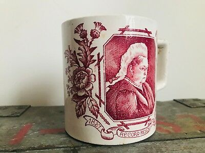 """1800s Queen Victoria / Balmoral Castle """"Record Reign"""" Hand-Painted Porcelain Mug"""