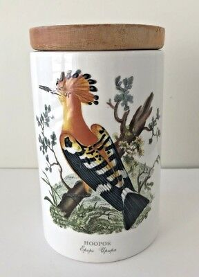 Portmeirion Hoopoe Birds of Britain Storage Canister Wood Lid Pot Jar