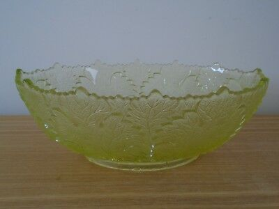 Vintage/Antique 25cm EAPG Green Glass Maple Leaf Oval Bowl by Gillinder and Sons